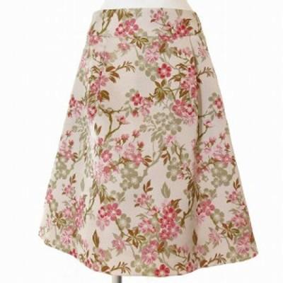 【中古】オースチン リード Austin Reed スカート 膝丈 フレア 花柄 刺繍 ベージュ 38 ボトムス レディース