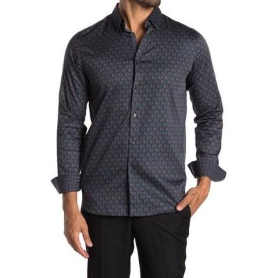 テッドベーカー メンズ シャツ トップス Glacee Geometric Print Slim Fit Shirt NAVY