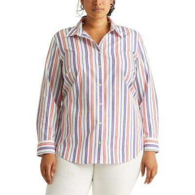 ラルフローレン レディース シャツ トップス  Plus Size Striped Cotton Broadcloth Shirt