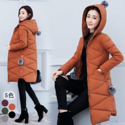 冬コート レディース 30代 40代 ロングコート 細身 着痩せ 軽量 中綿コート 大きいサイズ 黒コート 無地 フード ダウンコート 冬アウター