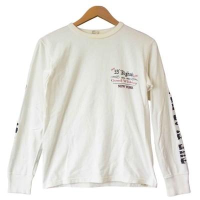 THE FLAT HEAD ザフラットヘッド プリント ロングスリーブ Tシャツ ロンT ホワイト系 38【中古】