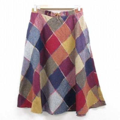古着 スカート 80年代 80s ウール USA製 エンジ他 中古 スカート 古着