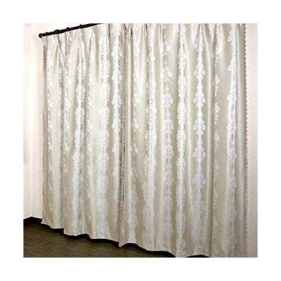 豪華 ジャカード織り ヨーロピアントリム 2級遮光裏地付き 2重 カーテン (ゴールドベージュ, 200×250cm(1枚入り))