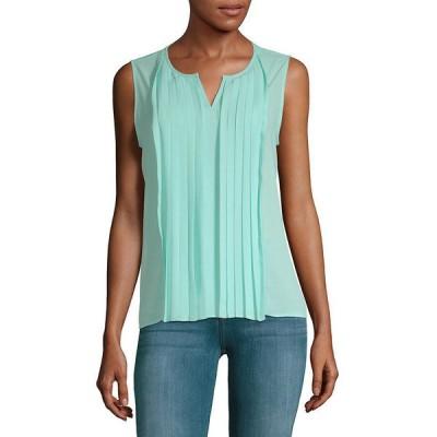 カルバンクライン カットソー トップス レディース Calvin Klein Pleated Front Sleeveless Top -