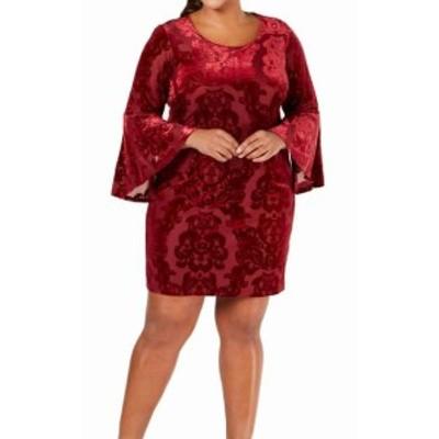 Red  ファッション ドレス Signature Robbie Bee Womens Dress Red Size 2X Plus Velvet Sheath
