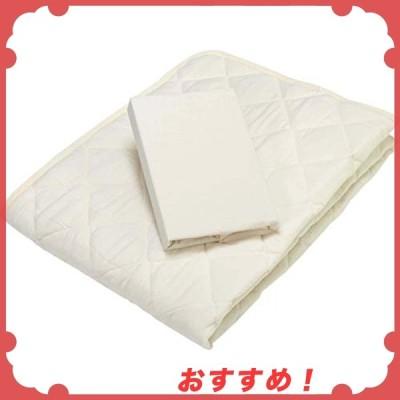 京都 西川 ベッドパッド ベッドシーツ 2点セット ダブル 洗える 清潔 取り付け簡単 便利 アイボリー 05527229