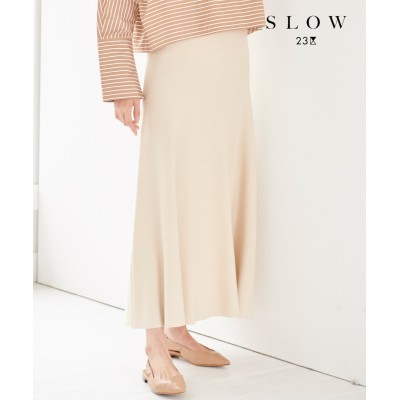 【SLOW】クレープ ニットフレアスカート