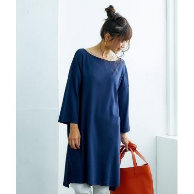 UVカット綿100%フライス素材サイドスリット入7分袖ロング丈Tシャツ (チュニック)(レディース)Tops, テレワーク, 在宅, リモート