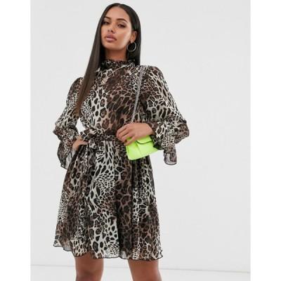 ミスガイデッド レディース ワンピース トップス Missguided high neck smock dress wth tie waist in leopard print