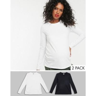 エイソス ASOS Maternity レディース 長袖Tシャツ Asos Design Maternity Ultimate Organic Cotton Long Sleeve Crew Neck T-Shirt In 2 Pack Save