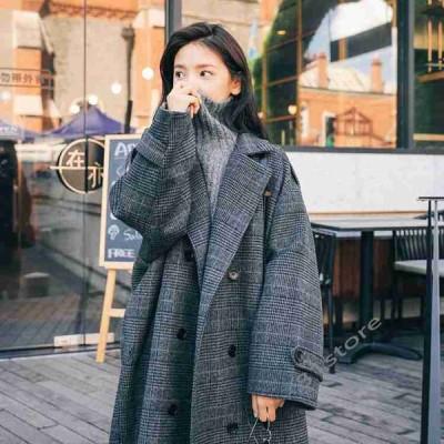 ロングコートレディース秋冬コートロング丈厚手チェックラシャコートアウター前開きゆったり防寒お洒落20代30代40代