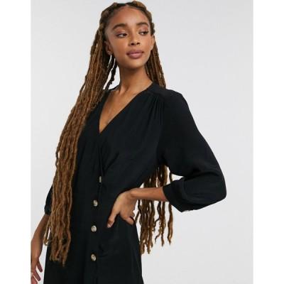モンキ ミディドレス レディース Monki Toryn wrap midi dress in black エイソス ASOS ブラック 黒