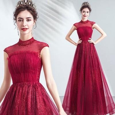 【ANGEL】スタンドカラー肌透けチュールビーズスパンコールノースリーブ背中編上げAラインロングドレス【送料無料】高品質 レッド 赤 ロングドレス