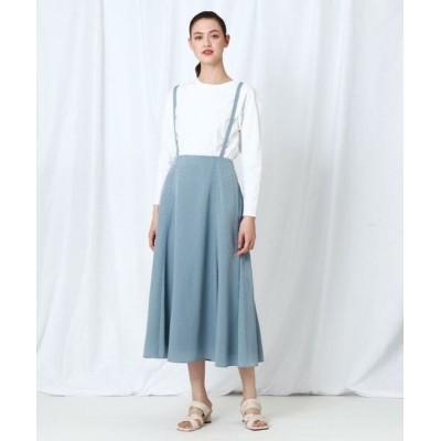 INDIVI/インディヴィ 【WEB限定】レオパジャカードサス付きスカート サックス(090) 34(S)