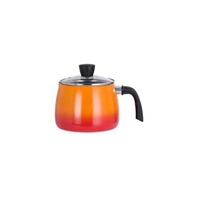 15.5CM Orange Japanese Deep Milk Pan with Lid Non-stick Instant Noodle Pot Baby Food Supplement Pot Cooking Gas Induction Cooker General(Siz