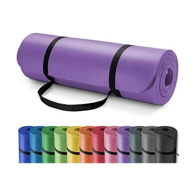 Yoga Mat 10mm NBR NonSlip Yoga Mat with Carrying Strap for Workout Eco Frie