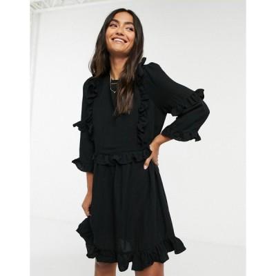 インザスタイル レディース ワンピース トップス In The Style x Lorna Luxe frill detail skater dress in black Black