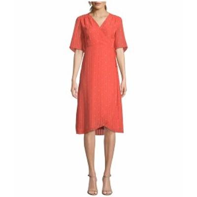カップケーキアンドカシミア レディース ワンピース トップス Mulholland 'Dot' Chiffon Wrap Midi Dress Hot Coral