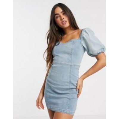 リバーアイランド レディース ワンピース トップス River Island puff sleeve denim mini dress in blue Light buzzy