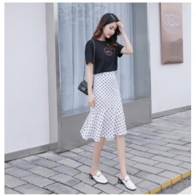 スカート 小さいサイズ ひざ下丈 ドット 水玉 シフォン チューリップ レディース かわいい 韓国 SSS 3S XS SS 2S
