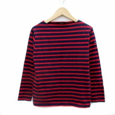 【中古】セントジェームス Tシャツ カットソー 長袖 ボートネック ボーダー柄 XXS 紺 ネイビー 赤 レッド レディース