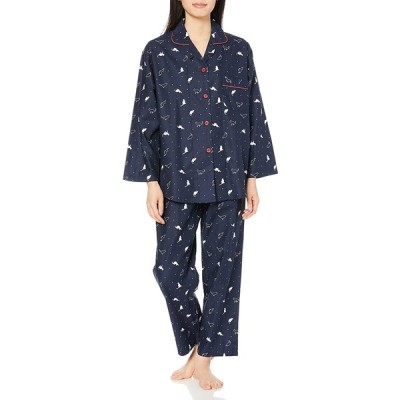 [セシール] ナイトウェア プリント柄がかわいい!ゆったりビエラシャツパジャマ レディース ネイビー 3L