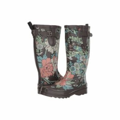 サックルーツ レインシューズ・長靴 Rhythm Charcoal Flower Power
