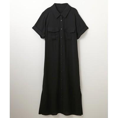 両胸ポケ付裾スリット半袖シャツワンピース (ワンピース)Dress