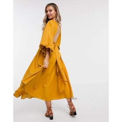 エイソス レディース ワンピース トップス ASOS EDITION extreme sleeve linen midi dress in mustard