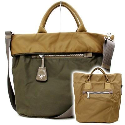 【良品】PRADA/プラダ 2WAYショルダーバッグ ハンドバッグ ナイロン ブラウン/茶 斜め掛けバッグ レディースバッグ ブランドバッグ