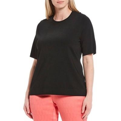インベストメンツ レディース Tシャツ トップス Plus Size Signature Yarn Short Sleeve Crew Neck Top