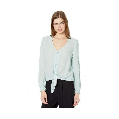 1.STATE ワンステート レディース 女性用 ファッション ブラウス Long Sleeve Crinkle Dobby Button-Down Tie Front Blouse - Dusty Mint