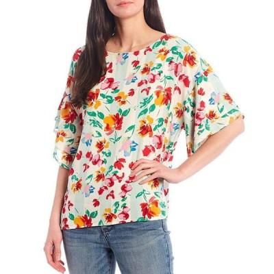 ボベー レディース シャツ トップス Floral Print Double Ruffle Sleeve Jewel Neck Top