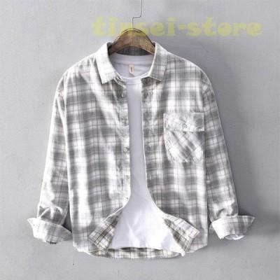 シャツ 長袖 メンズ コール天シャツ 綿シャツ 開襟 チェック柄 全綿シャツ カジュアル メンズシャツ物 上品な