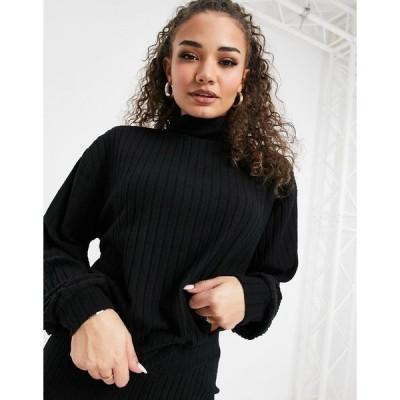 ラウンジブル レディース ニット&セーター アウター Loungeable mix & match soft knit rib oversized high neck sweater in black Black