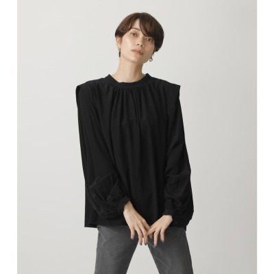GATHER SLEEVE VOLUME TOPS BLK