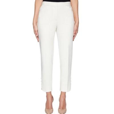 ルビーロード レディース カジュアルパンツ ボトムス Double Face Stretch Button-Hem Detail Ankle Pants Linen White