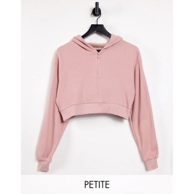 スリードベア Threadbare Petite レディース パーカー クロップド トップス waffle cropped hoodie co-ord in pink キャンディピンク