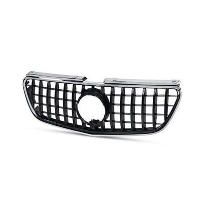 XMEIFEI PARTS Chrome/Gloss Black GTR Style Car Front Bumper Gt Grill Grille for Mercedes for Benz Vito 2015 2016 2017 2018 Without Emblem (C