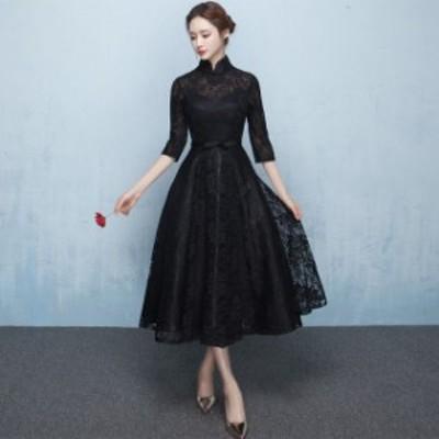 ハイネックミモレ丈ドレス(ブラック)春夏 結婚式 二次会 パーティー お呼ばれ 謝恩会