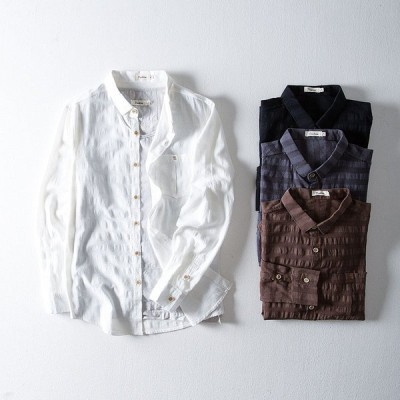綿麻シャツ メンズ 長袖 開襟 メンズ トップス 長袖シャツ ジャカード カジュアルシャツ