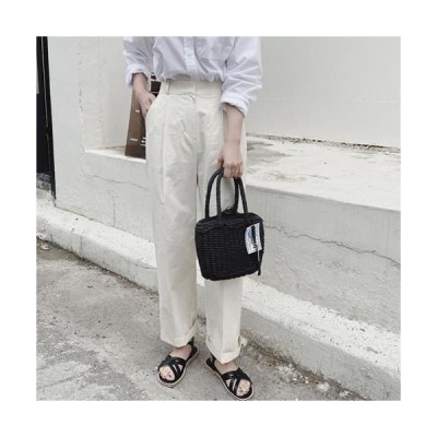 MINIBBONG レディース パンツ Summer Broad Pintuck Cotton Slacks Pants