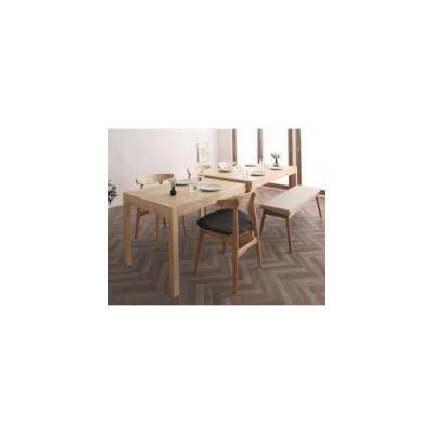 ダイニングテーブルセット 6人用 椅子 ベンチ 伸縮 伸長 北欧 6点 (机+チェア4+長椅子1) デザイナーズ スタイリッシュ 大きい 幅140 150 160 180 200 220