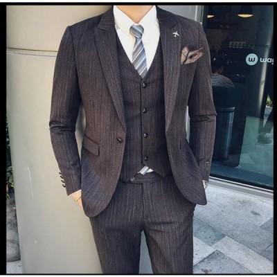 刺繍 紳士服 スリムスーツ 大きいサイズ フォーマル パーティー 結婚式 二次会 披露宴 通勤 卒業式 入学式 メンズ ビジネススーツ スリーピース 3ピーススーツ