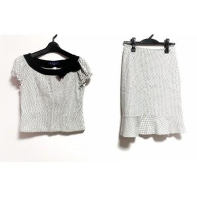 エムズグレイシー M'S GRACY スカートセットアップ サイズ38 M レディース 美品 - 白×黒 ドット柄/リボン【中古】20200616