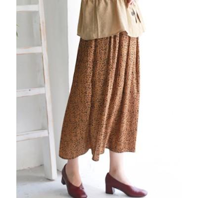 【リアルキューブ】 ダルメシアンプリーツロングスカート レディース ブラウン M REAL CUBE
