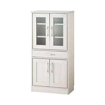 ぼん家具 キッチンキャビネット 食器棚 台所収納 カトラリー ミドルタイプ 木製 ホワイト