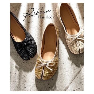 靴 レディース リボン付 フラット シューズ 22.0〜22.5/23.0〜23.5/23.5〜24.0/24.0〜24.5cm ニッセン nissen