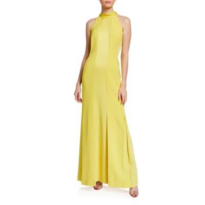 エスカーダ レディース ワンピース トップス Monochromatic Paneled Halter-Neck Gown