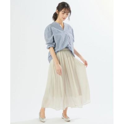 【《揺れる素材感が女性らしい》手洗い可】グロッシー楊柳ギャザースカート